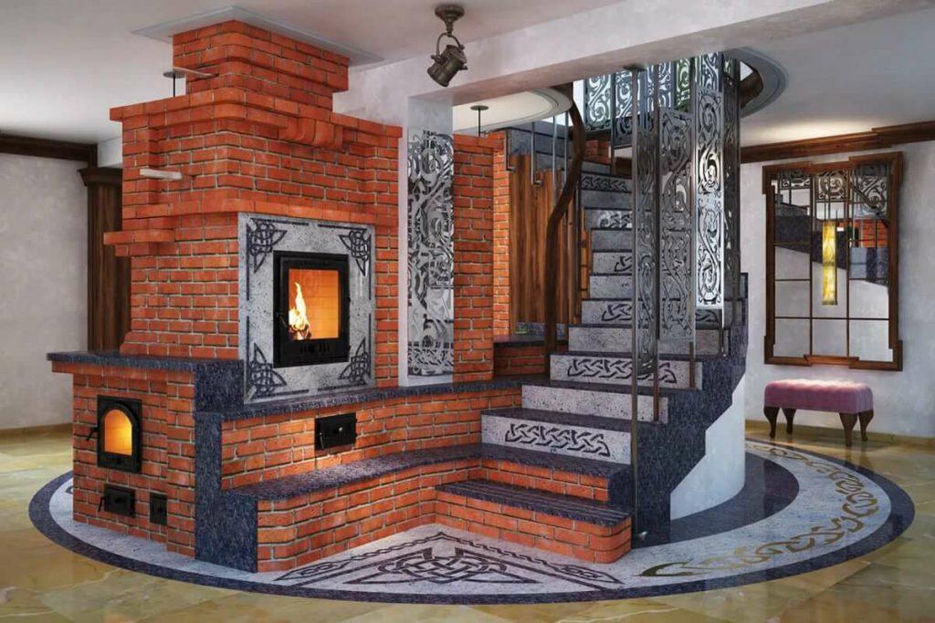 печь-камин из кирпича